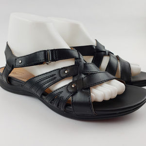 G.H. Bass & Co. Shoes - GH Bass Womens Black Leather Strappy Sandals